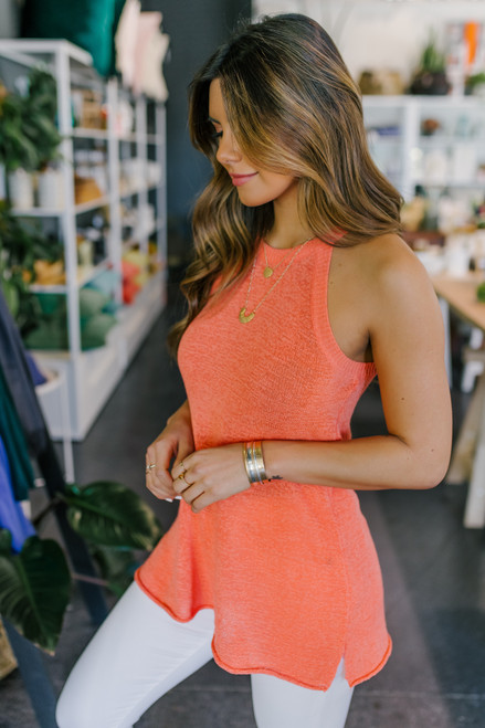 Halter Neck Coral Sweater Tank