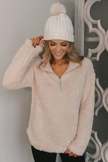Half Zip Sherpa Pullover - Cream