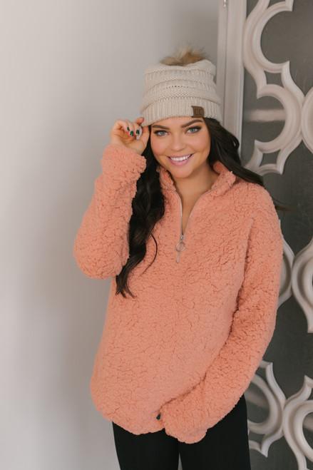 Half Zip Sherpa Pullover - Peach