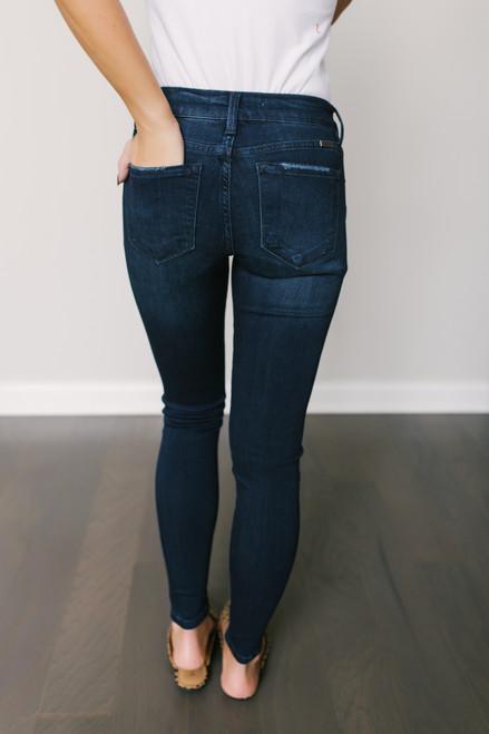 California Cruising Frayed Skinny Jeans - Dark Wash