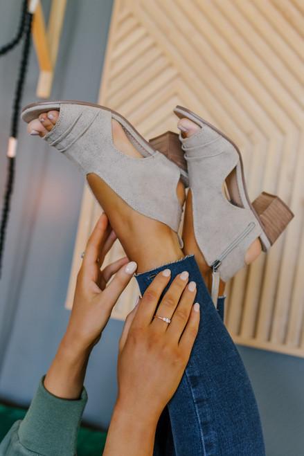 Sissy Beige Peep Toe Heeled Sandals