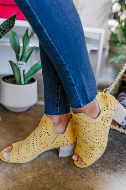 Cecilia Peep Toe Yellow Perforated Booties
