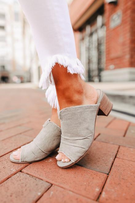 Bianca Taupe Peep Toe Mules