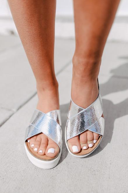 Elena Silver Platform Sandals
