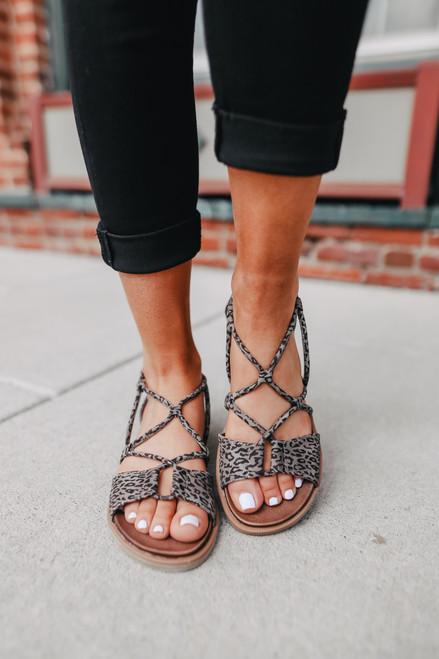 Destiny Strappy Grey Leopard Sandals