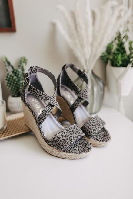 Patti Grey Leopard Espadrille Wedges