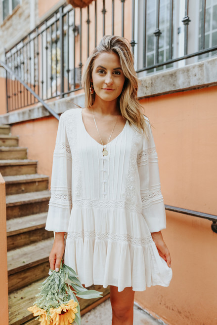 Crochet Detail Button Down Clay Tiered Dress