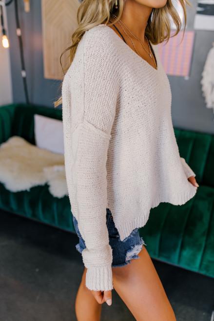 V-Neck Ribbed Ivory Sweater