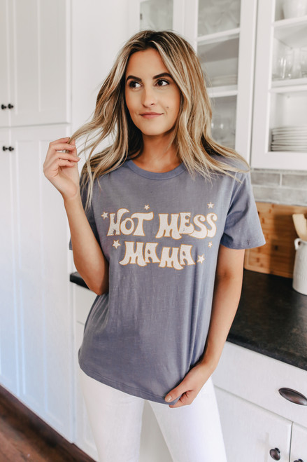 Hot Mess Mama Navy Tee