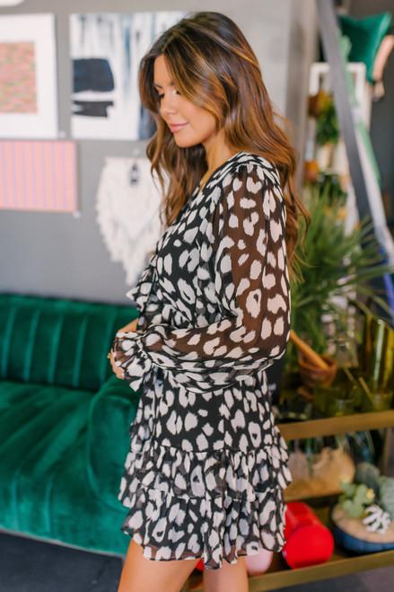 V-Neck Knotted Leopard Dress