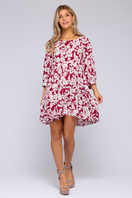 3/4 Sleeve Burgundy Floral Tiered Dress