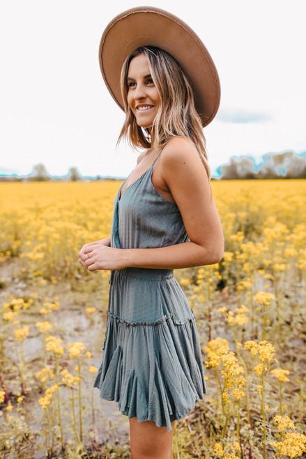Surplice Ruffle Sage Dotted Dress
