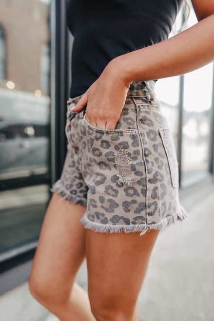 Frayed Leopard Denim Shorts
