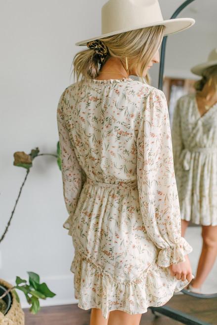 Surplice Ivory Floral Chiffon Dress