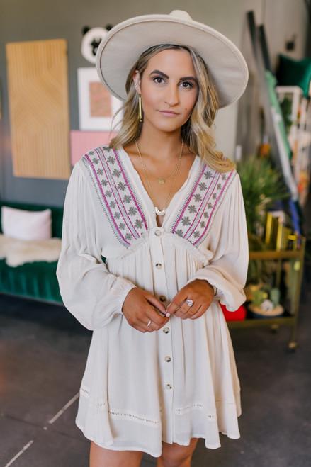 V-Neck Button Down Embroidered Cream Dress