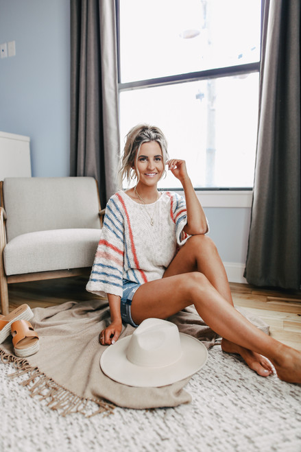 Wide Sleeve Striped Beach Sweater