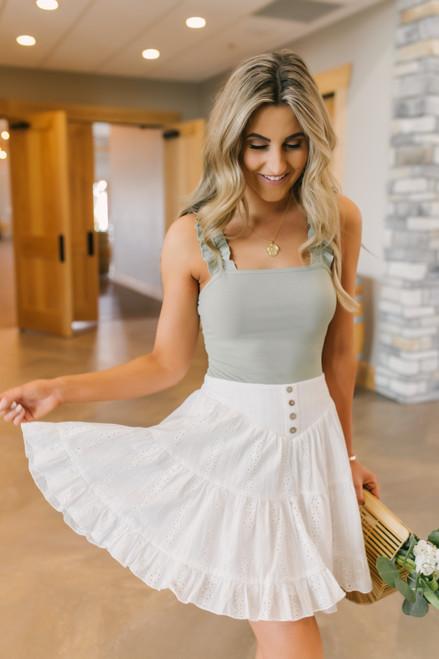 Button Detail White Eyelet Skirt