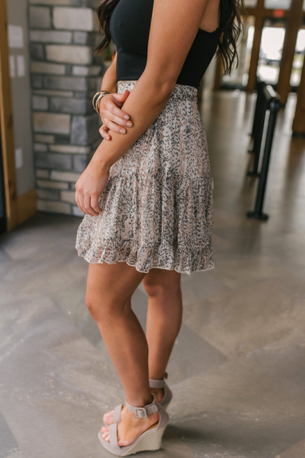 Button Detail Tiered Printed Skirt