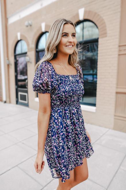 Short Sleeve Smocked Navy Floral Dress