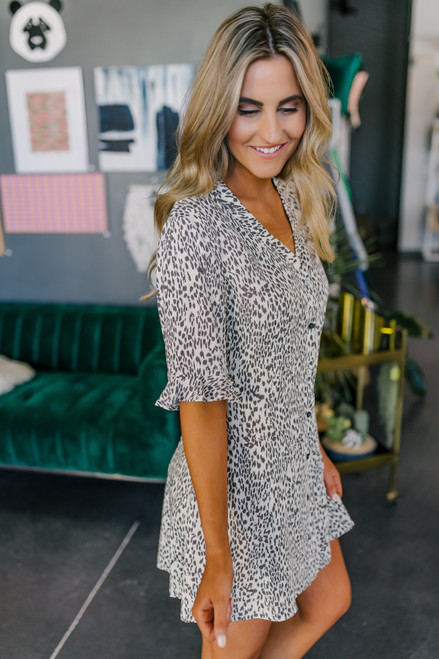 Button Down Ivory Leopard Dress