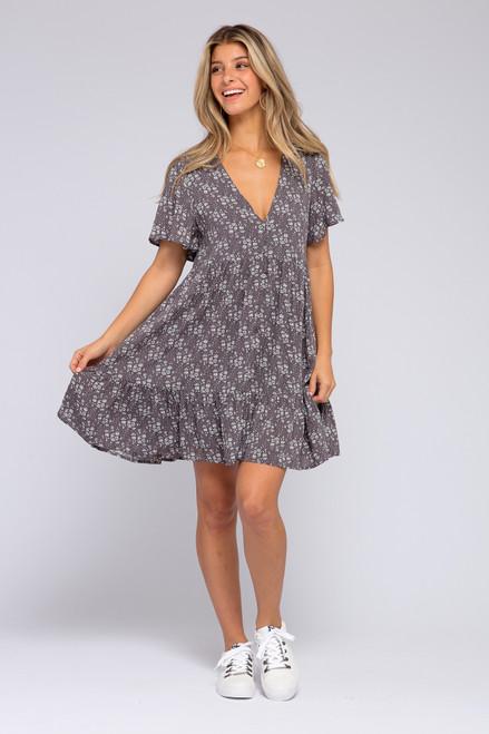 Button Down Lavender Grey Floral Dress
