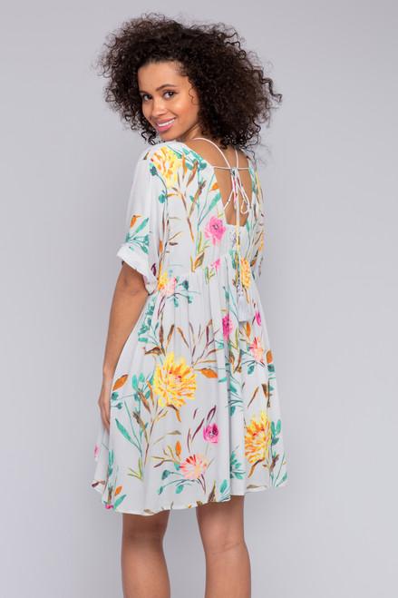 V-Neck Grey Floral Babydoll Dress