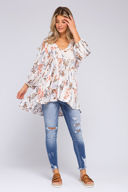 V-Neck Floral High Low Tunic