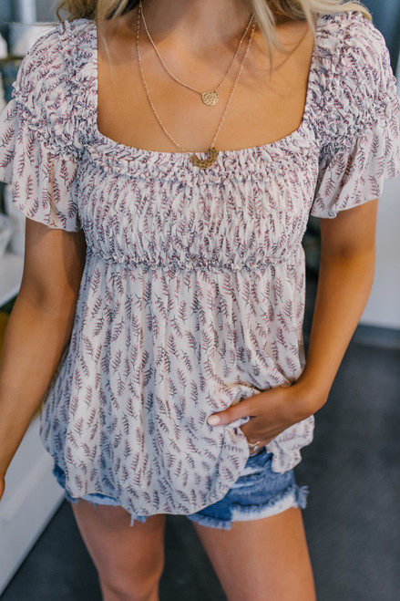 Off the Shoulder Cream Printed Top