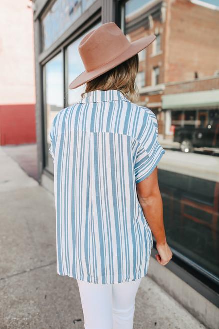 Button Down Blue Striped Shirt
