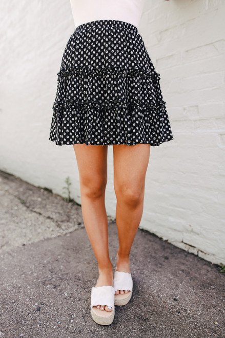 Tiered Black Printed Skirt