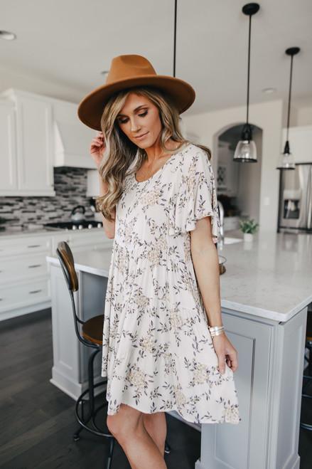 Short Sleeve Ivory Tiered Babydoll Dress