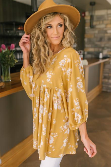 Cross Back Mustard Floral Tunic