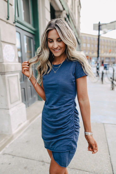 Elodie Ruched Detail Navy T-Shirt Dress
