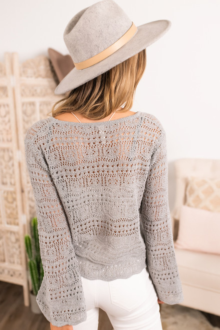 Ruched Front Grey Crochet Sweater