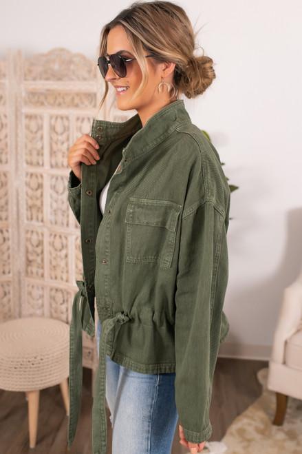 Drawstring Olive Denim Utility Jacket