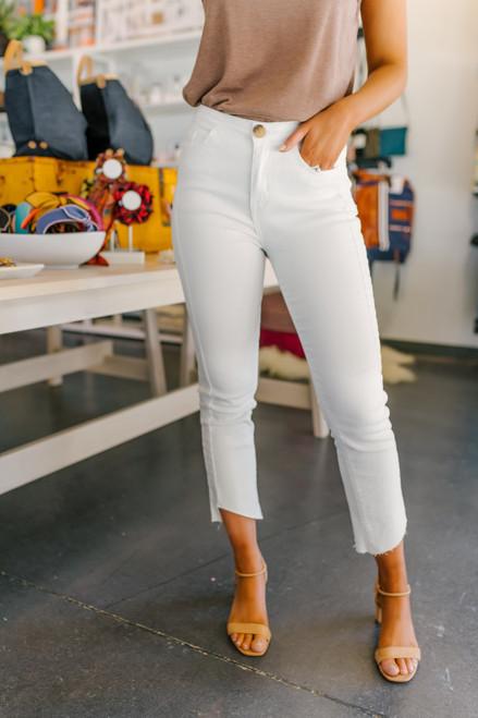 Frayed Cropped Ivory Pants