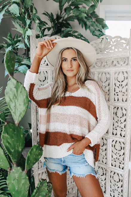 V-Neck Neapolitan Striped Sweater