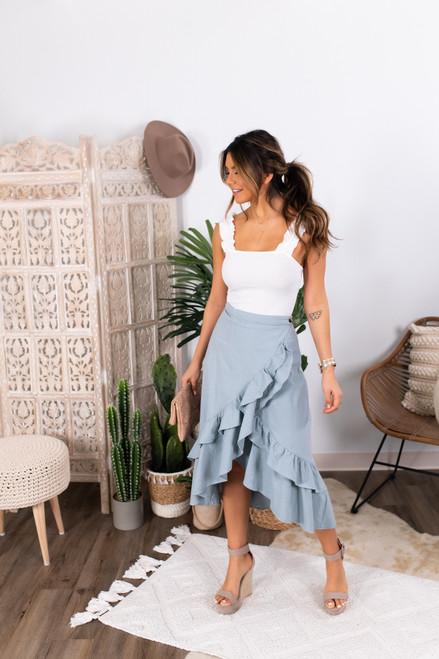 High Low Blue Ruffle Wrap Skirt