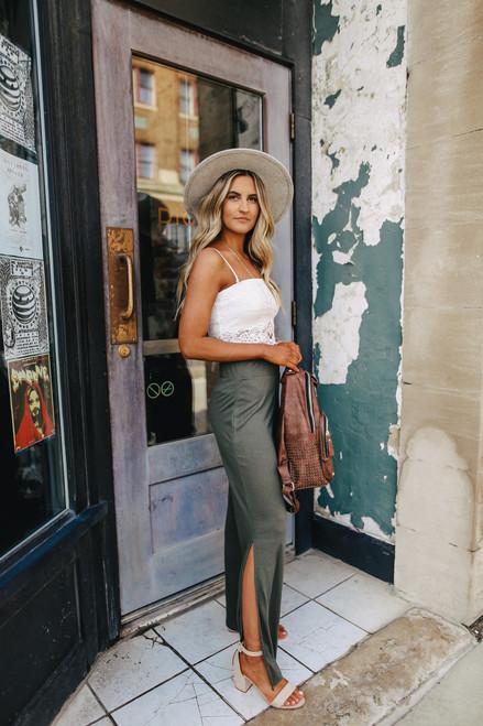 Cool Breeze Side Slit Olive Pants