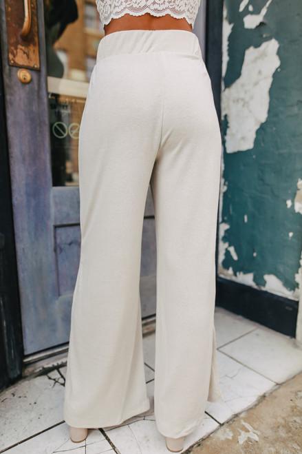 Cool Breeze Side Slit Taupe Pants