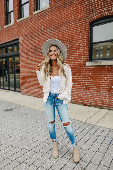 Button Down Cozy Cream Cardigan
