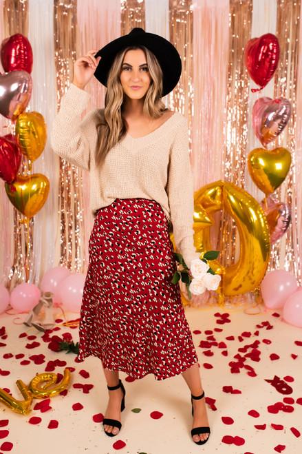 Cleo Red Leopard Midi Skirt