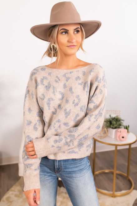 Boatneck Taupe Leopard Sweater