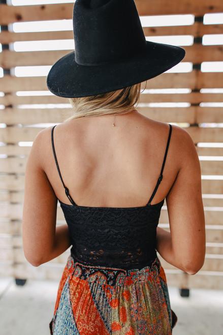 Longline Lace Scalloped Black Bralette