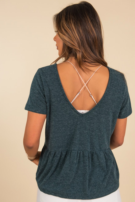 V-Neck Knotted Green Babydoll Top