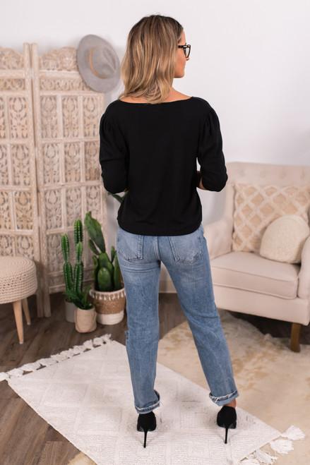 V-Neck Black Lightweight Hacci Sweater