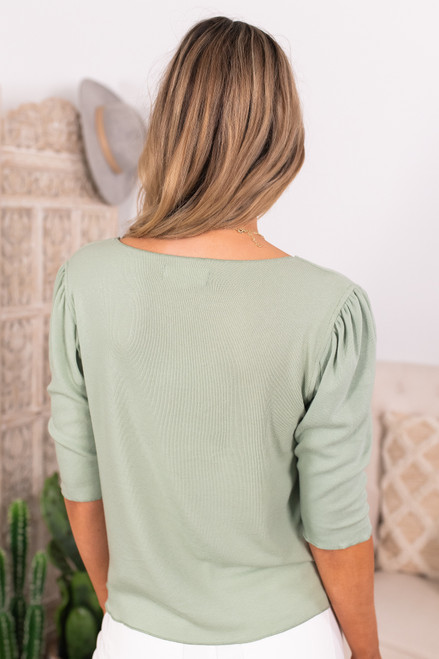 V-Neck Sage Lightweight Hacci Sweater