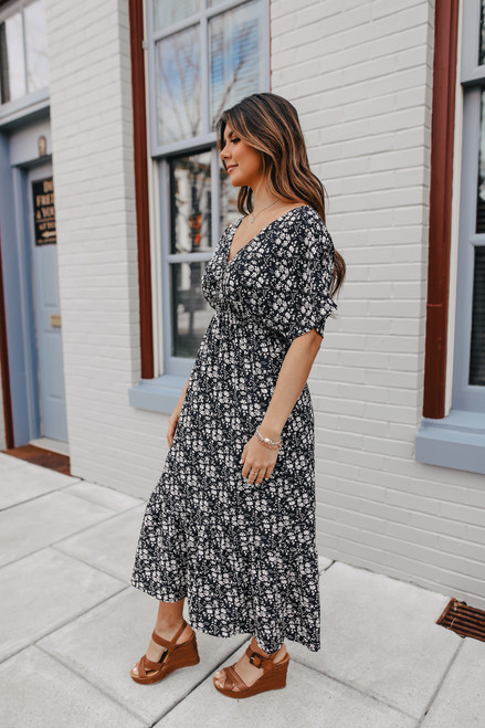Short Sleeve Black Floral Maxi