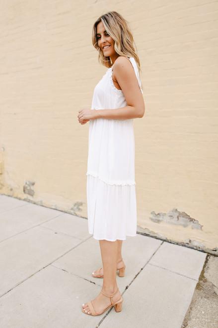 Tie Strap Tiered Ivory Midi Dress