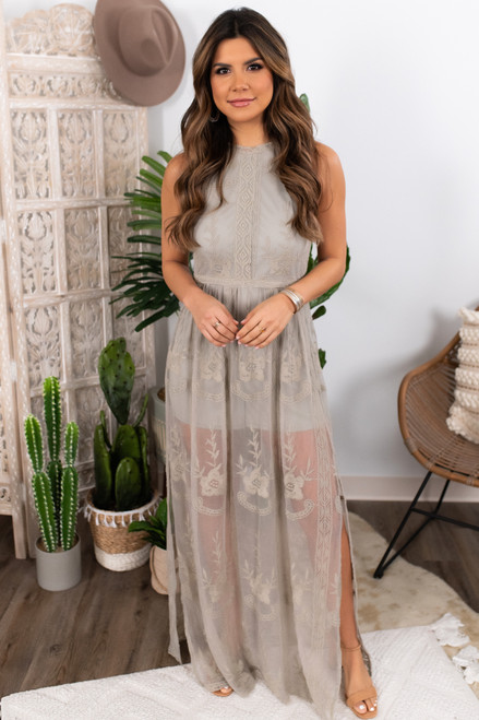 True Love Halter Lace Sage Romper Maxi
